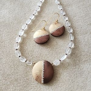 Wood, Gold and Crystal necklace!!